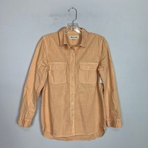 Madewell orange chambray button up top size XS